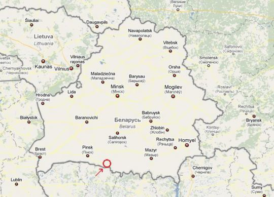 Wit-Rusland met in het rode rondje de regio Stolin